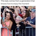 This lady comes from generation who enjoy moment