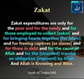 Who is eligible for Zakat - Surah al Tawba 9-60