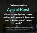 Ayat al Kursi after every obligatory prayer Hadith Sahih al Jaami as Sagheer 6464