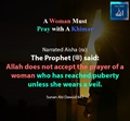 A women must pray with a khimar - Sunan Abi Dawud 641