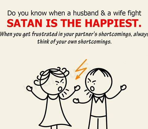 Satan happy when wife and husband fight