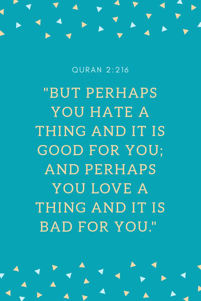 But perhaps you hate a thing and it is good for you, and perhaps you love a thing and it is bad for you - Quran 2-216