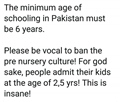 Minimum age of schooling